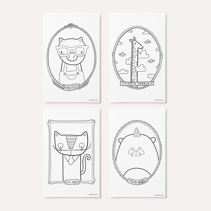8 Cartões - Animais - Para Colorir (Ou Não)