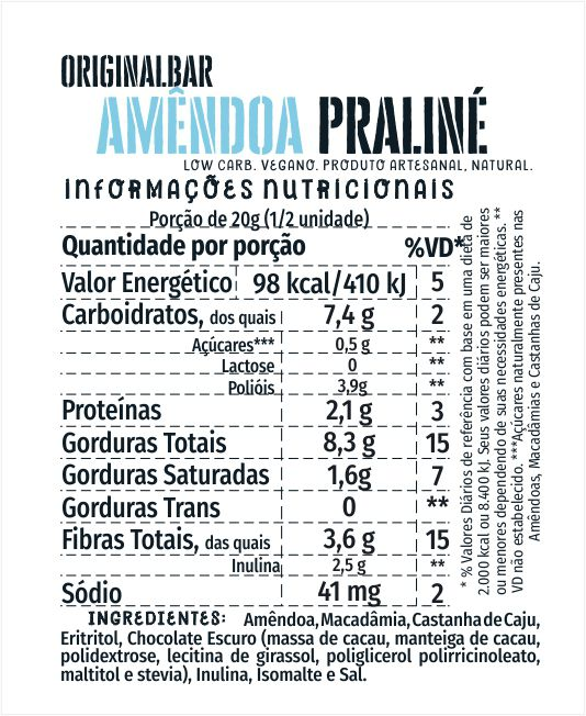 Bars Amêndoa Praliné - 6 unidades