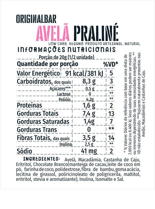 Bars Avelã, Amêndoa, Paçoca Praliné