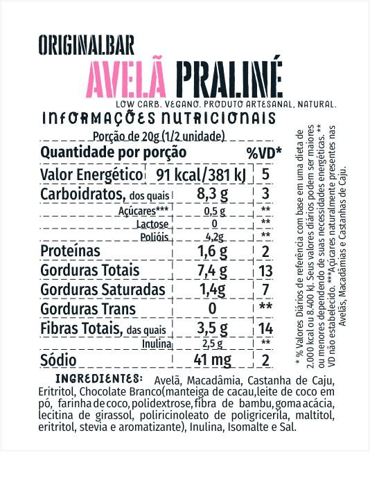 Bars Avelã Praliné - 20 unidades