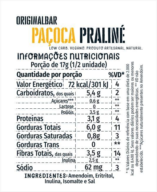 Bars Paçoca Praliné - 6 unidades