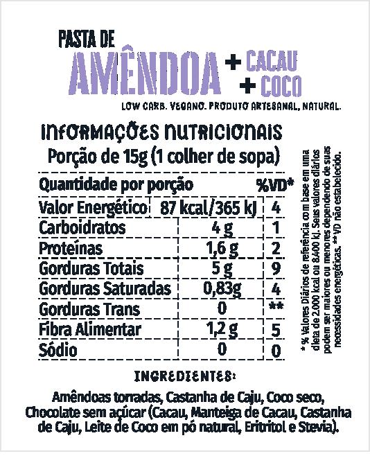 Pasta de Amêndoa + Cacau e Coco 500g