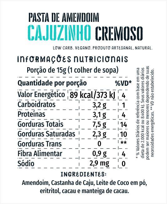 Pasta de Amendoim Cajuzinho Cremoso