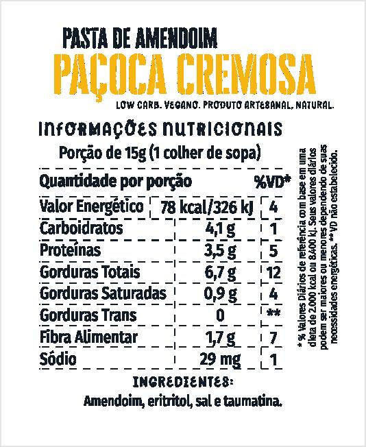 Pasta de Amendoim Paçoca Cremosa