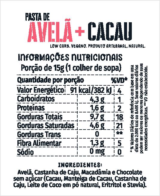 Pasta de Avelã + Cacau 210g
