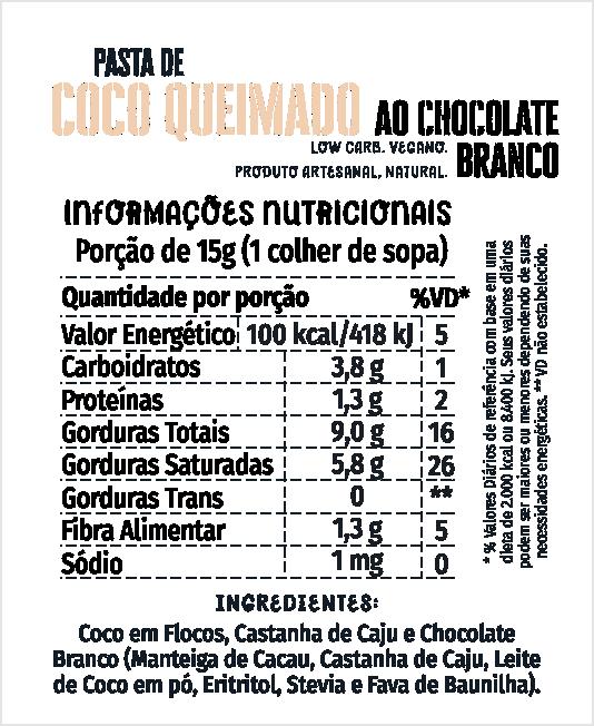 Pasta de Coco Queimado + Chocolate Branco 500g