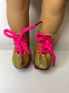 Patins para American Girl e Our Generation Dourado Glitter
