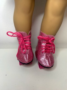 Patins para American Girl e Our Generation Rosa Glitter