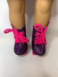 Patins para American Girl e Our Generation Roxo Glitter