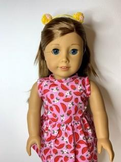 Tiara para Boneca Pompom Amarelo + Rosa