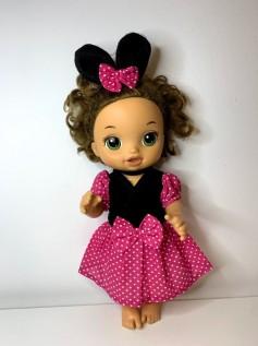 Vestido Minnie Rosa para Baby Alive