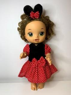 Vestido Minnie Vermelha para Baby Alive