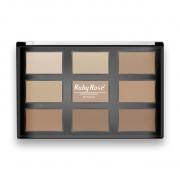 Paleta de Pó Facial Uso Profissional - com 9 cores- Ruby Rose