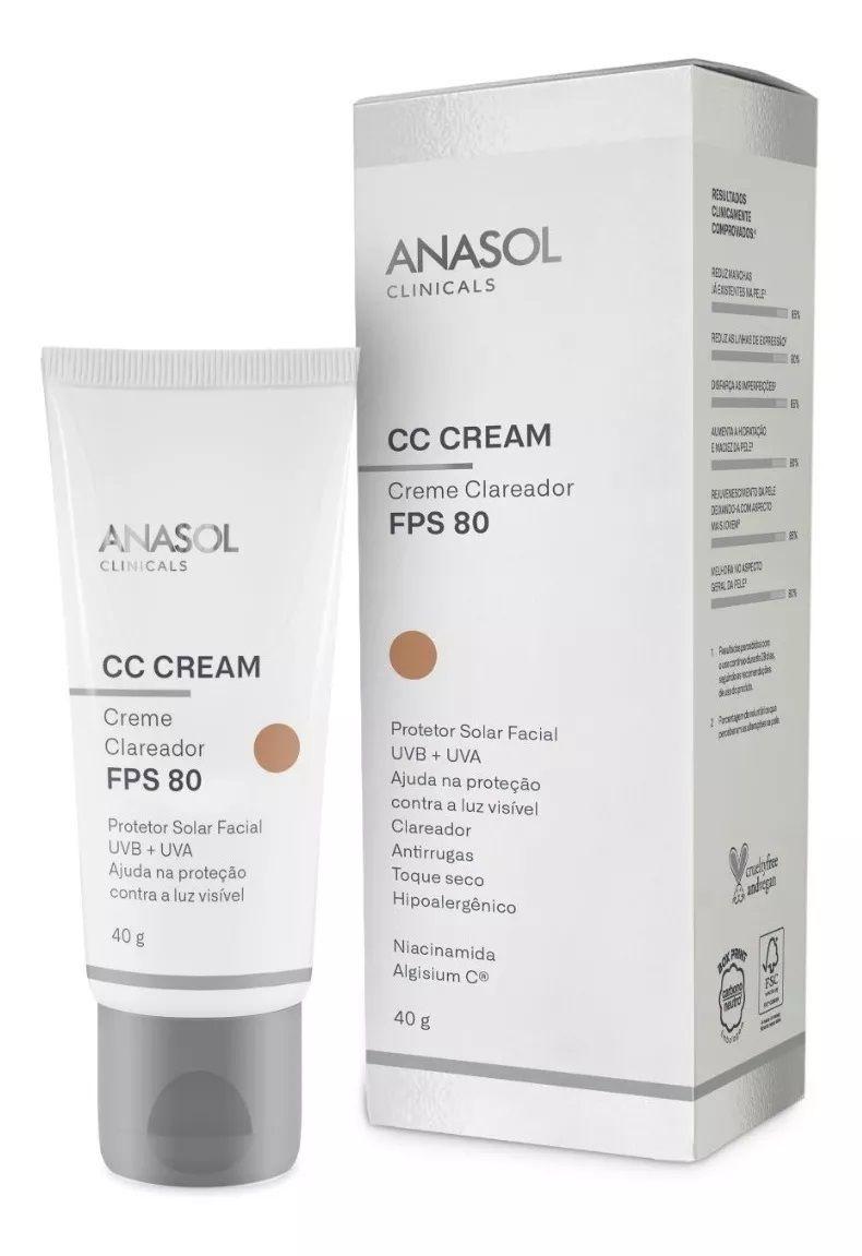 CC Cream FPS 80 Clareador com cor Clinicals - 40g - Anasol