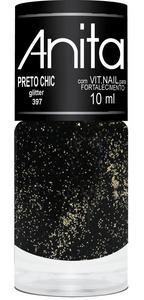 Esmalte Glitter Preto Chic 10ml - Anita
