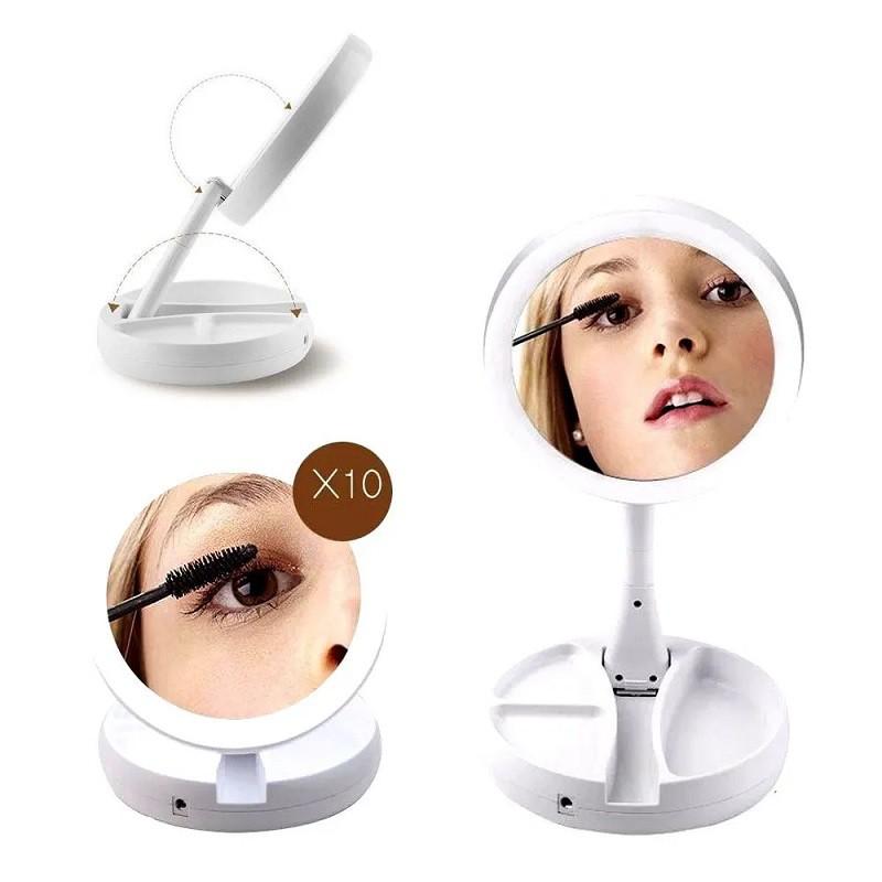 Espelho Maquiagem Dupla Face Luz Led Dobrável  My Fold Away - Emson