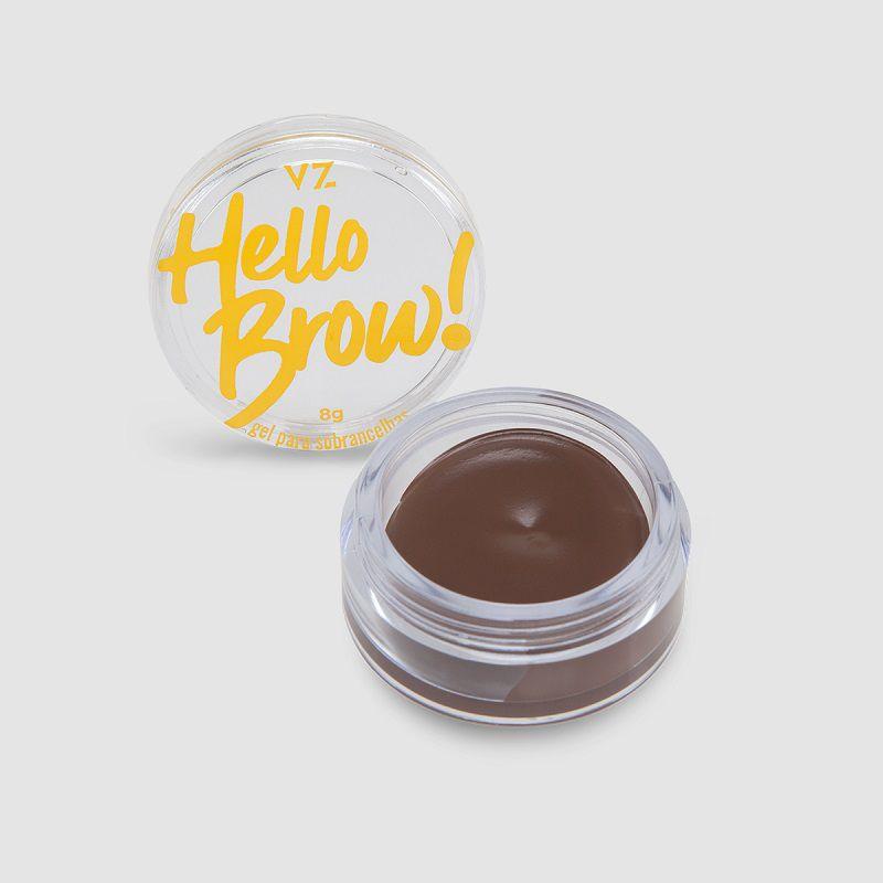 Gel de Sobrancelhas Hello Brown  cor: Marrom Escuro - 8g - Vizzela