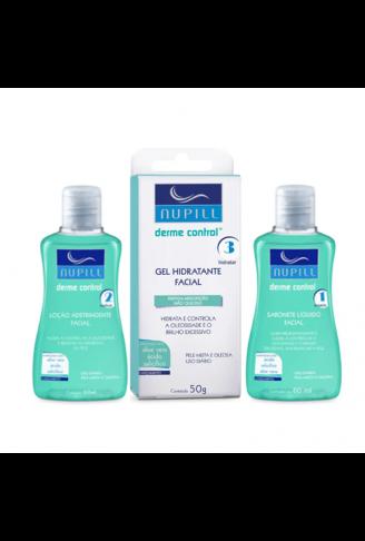 Kit Facial Derme Control Sabonete + Adstringente + Gel Hidratante - Nupill