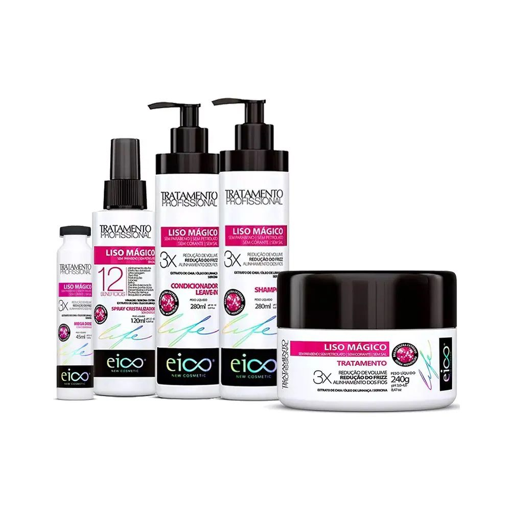 Kit Liso Magico Shampoo + Condicionador 280ml + Spray 120ml + Mascara 240g + Ampola 45ml -Eico
