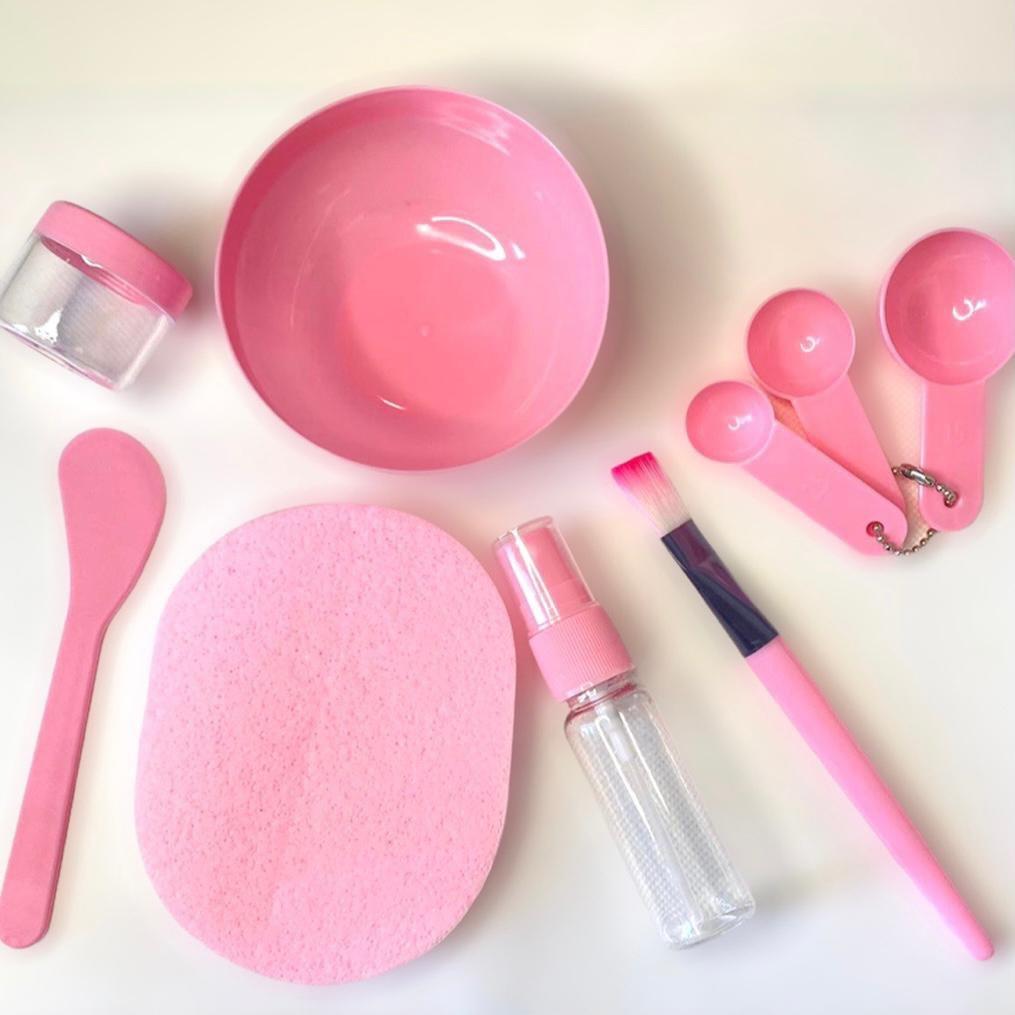 Kit Para Argila e Skin Care - 9 peças  - Rosa