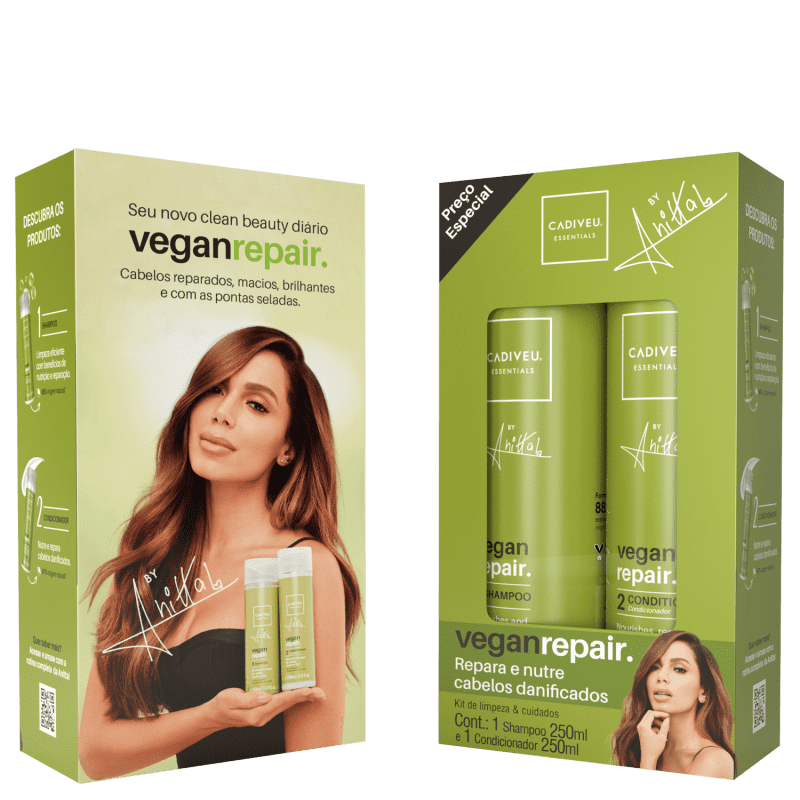 Kit Shampoo + Condicionador Vegan Repair by Anitta - 250 ml - Cadiveu