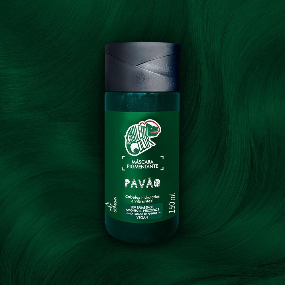 Máscara Pigmentante Pavão -Verde c/ Fundo Esmeralda  150ml - Kamaleão Color