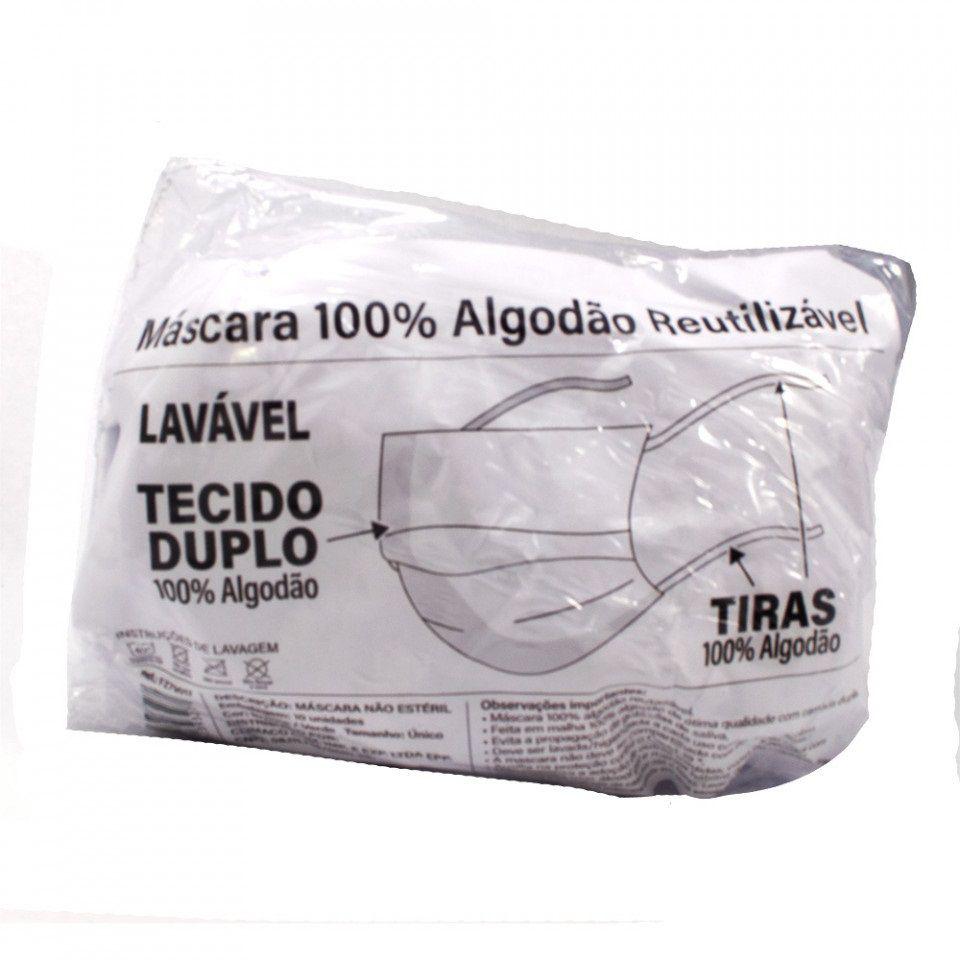 Máscara Tecido Tiras (Dupla Camada) Lavável 100% Algodão -10 unidades - Fenzza