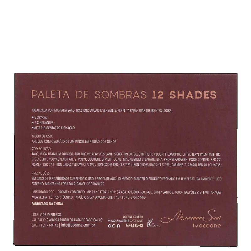 Paleta de Sombras 12 Shades Mariana Saad By Océane