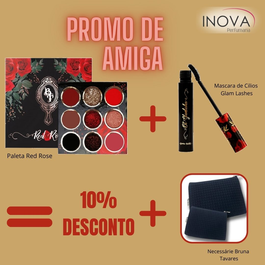 Paleta Red Rose  + Máscara de Cílios Glam Lashes Promoção - Bruna Tavares (Ganha necessarie)