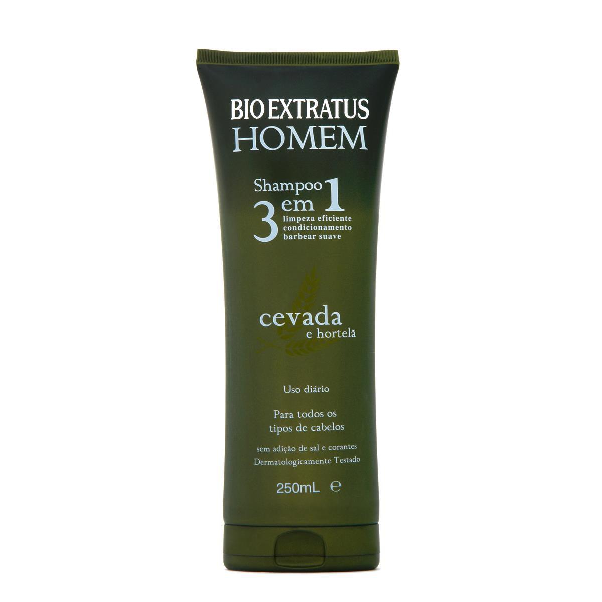 Shampoo 3 em 1 Homem Cevada e Hortelã- 250ml-Bio Extratus