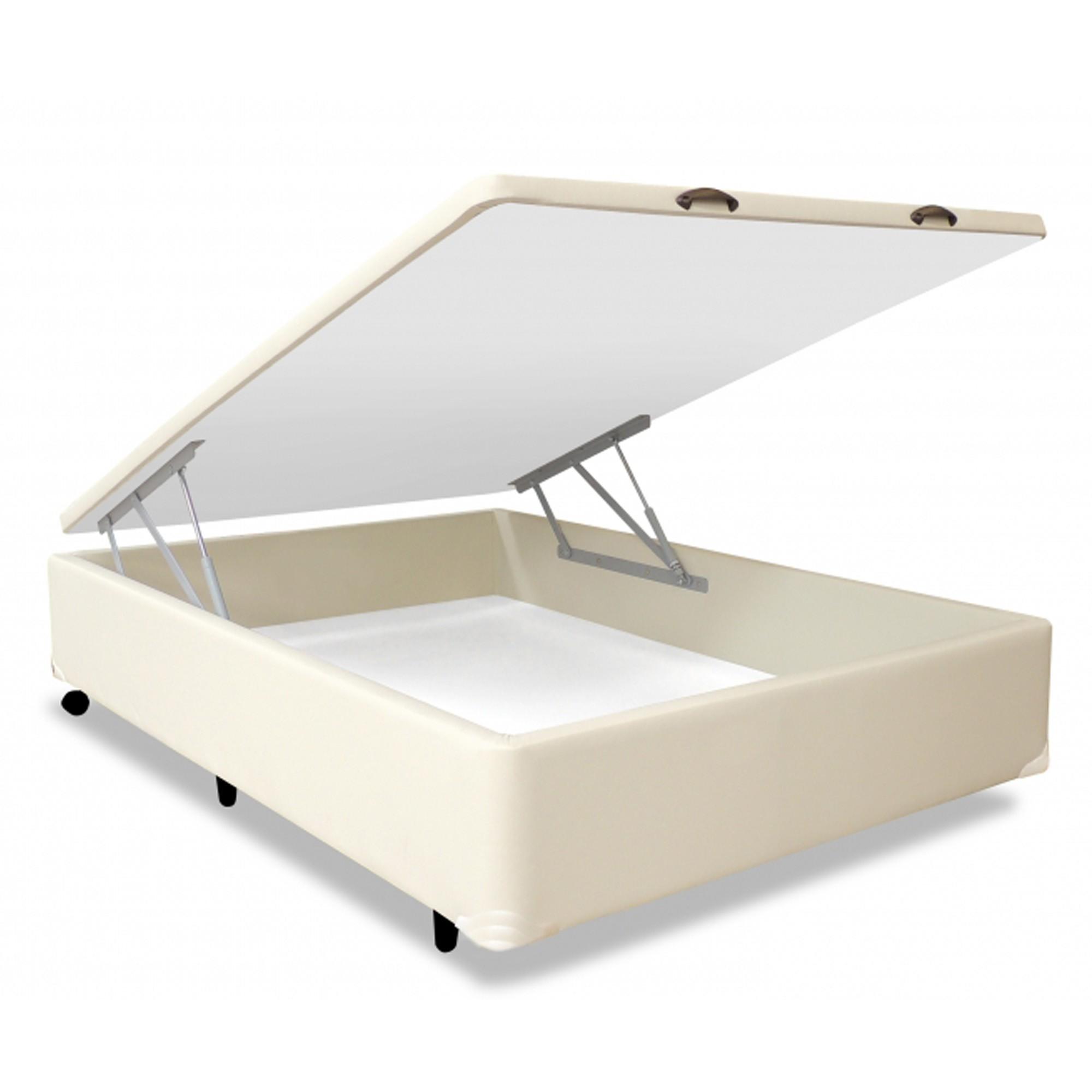 Box Baú Corano Areia com Pistões MGA [Solteiro 078 x 188 cm]