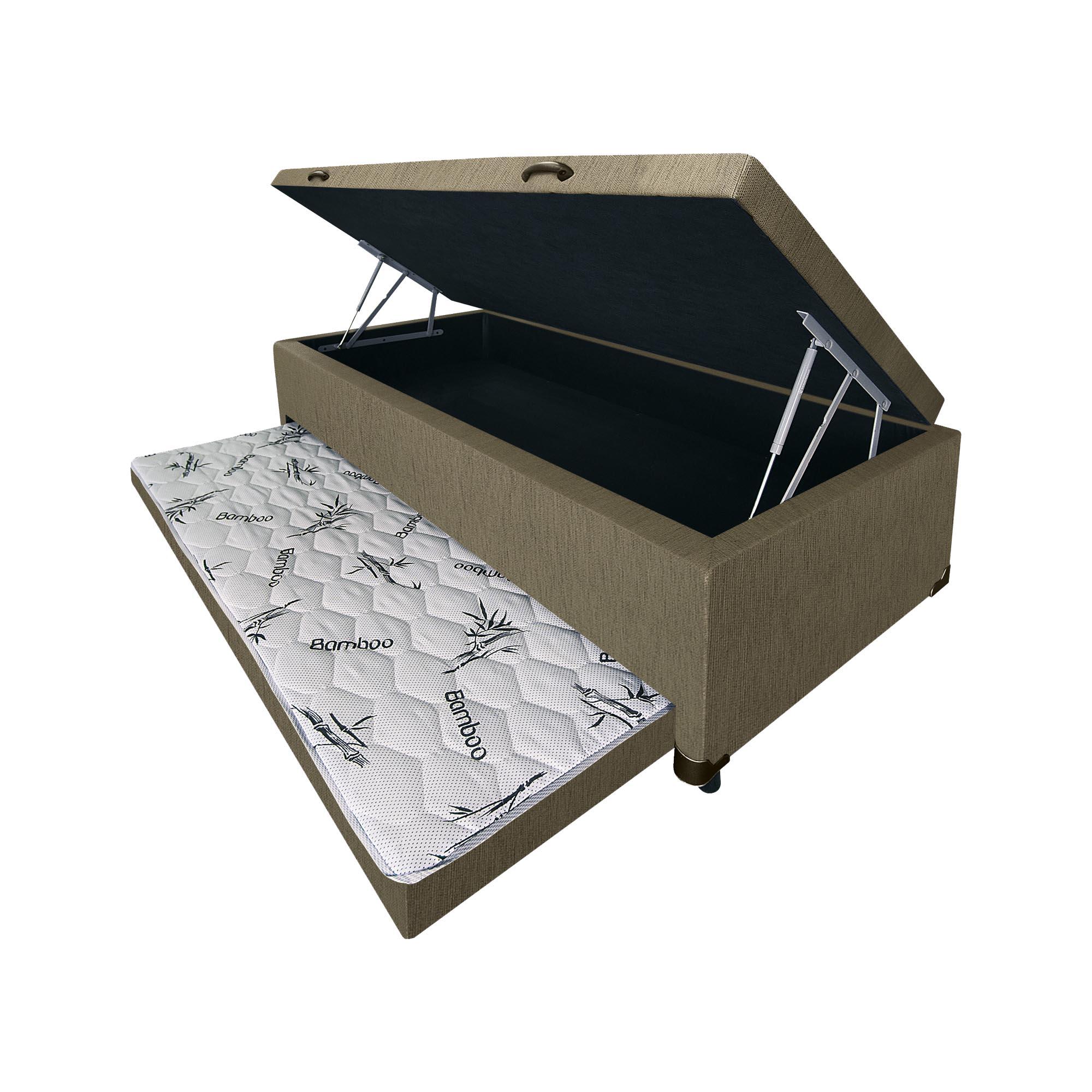 Box, Baú e Bicama 3 em 1 Linhão Caqui [Solteiro 088 x 188 cm]