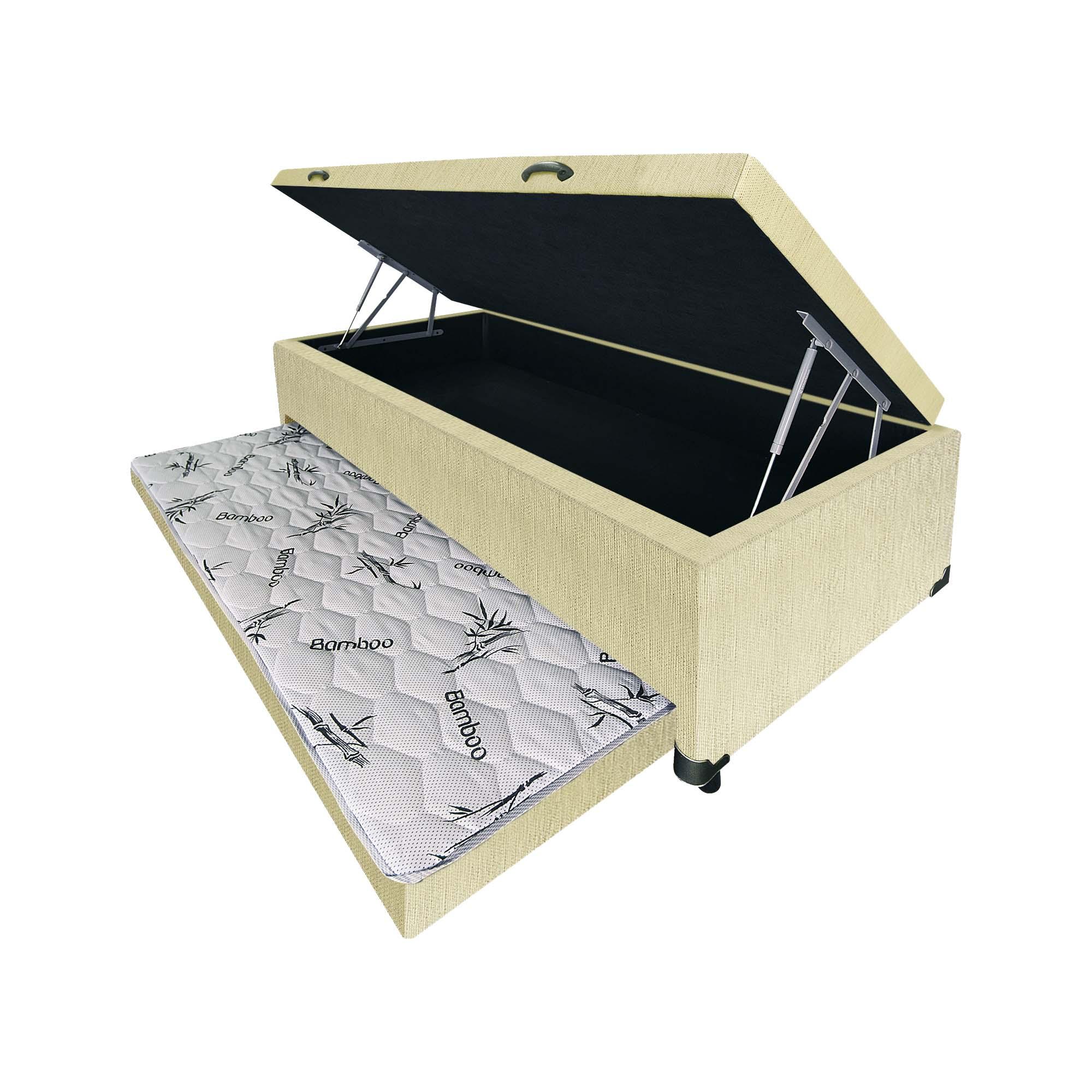 Box, Baú e Bicama 3 em 1 Linhão Palha [Solteiro 088 x 188 cm]