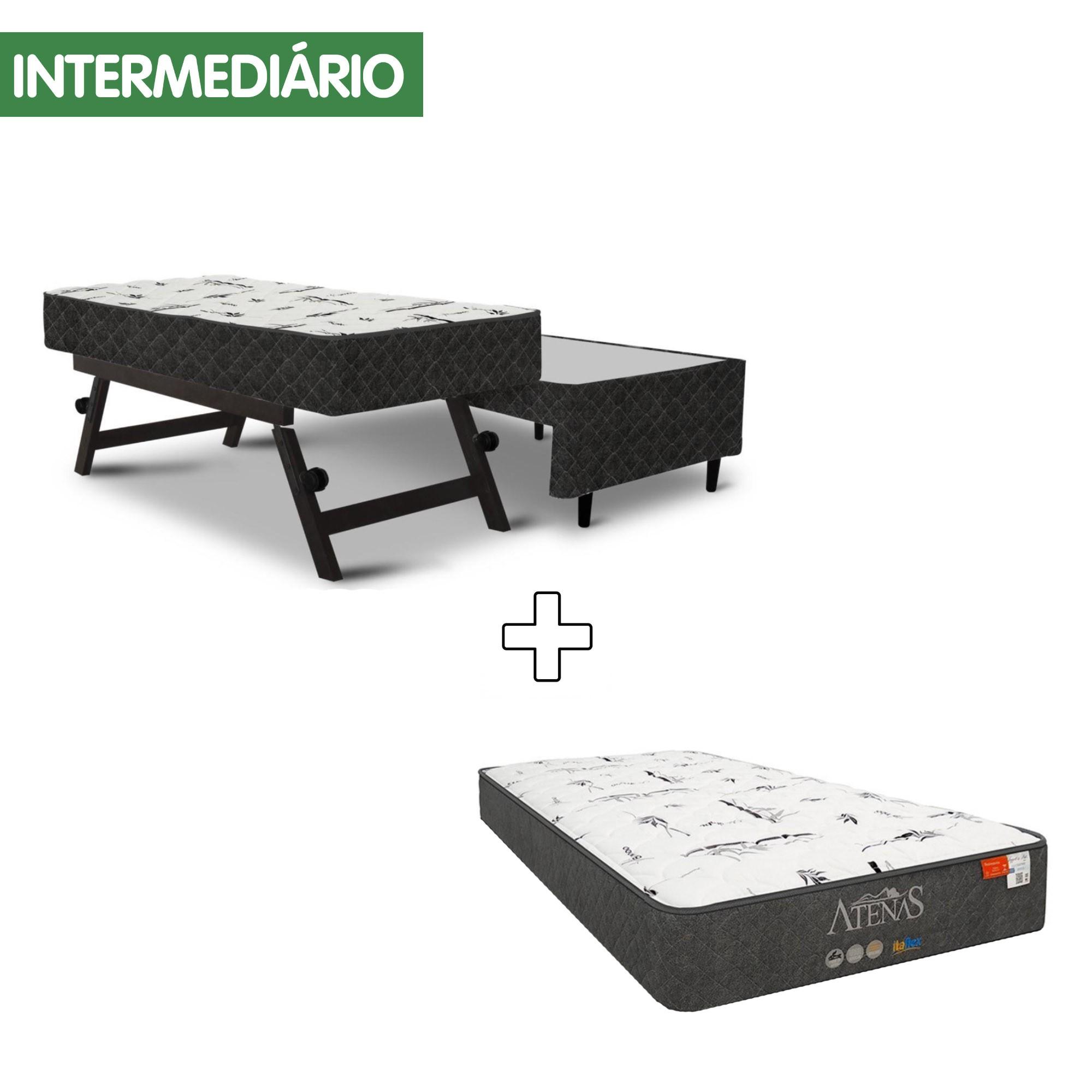 Conjunto Box Bicama Molejo Versátil Black + Colchão Atenas Black MGA [Solteirão 096 x 203 cm]