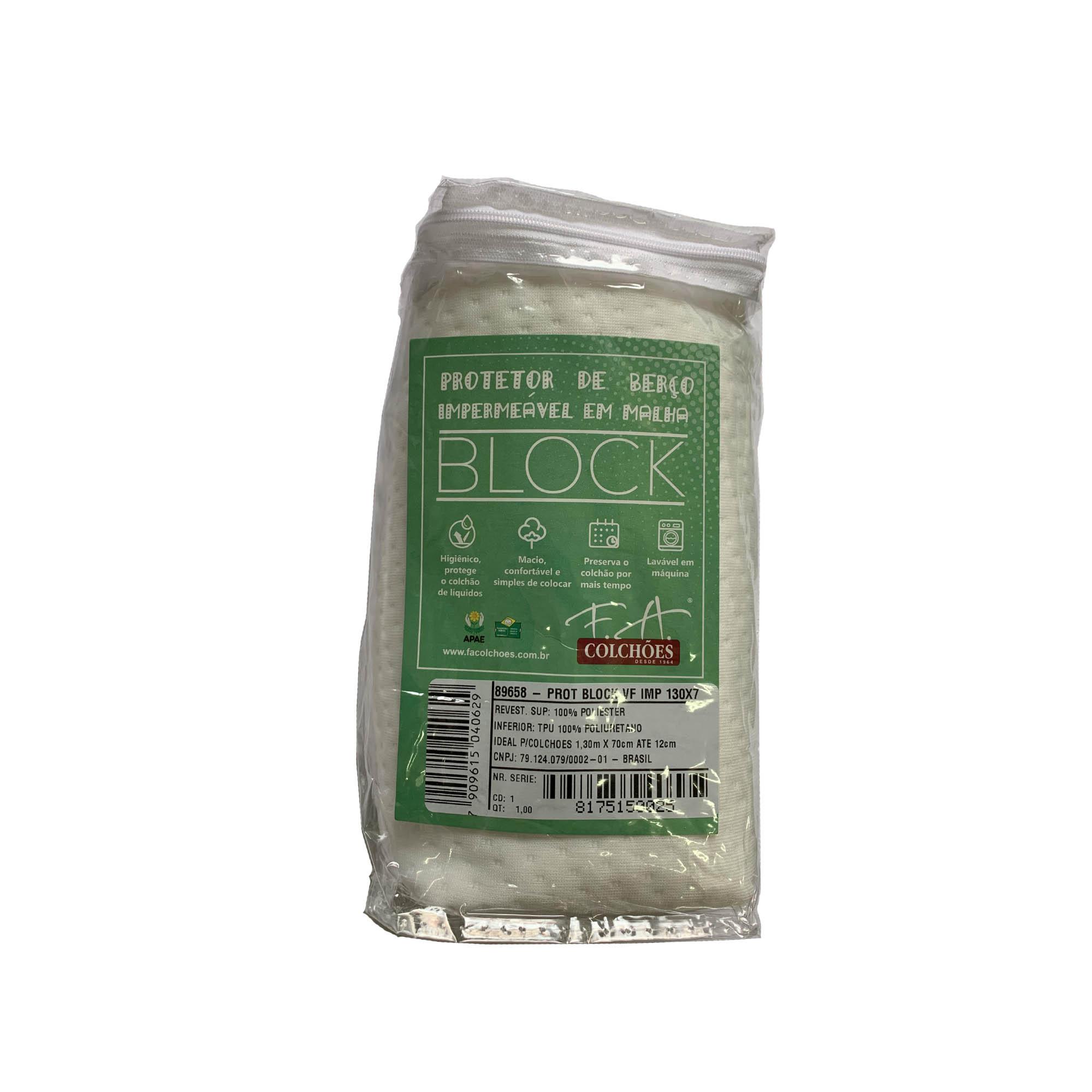 Protetor Impermeável Block Malha para Colchão Infantil [070 x 130 x 012 cm]