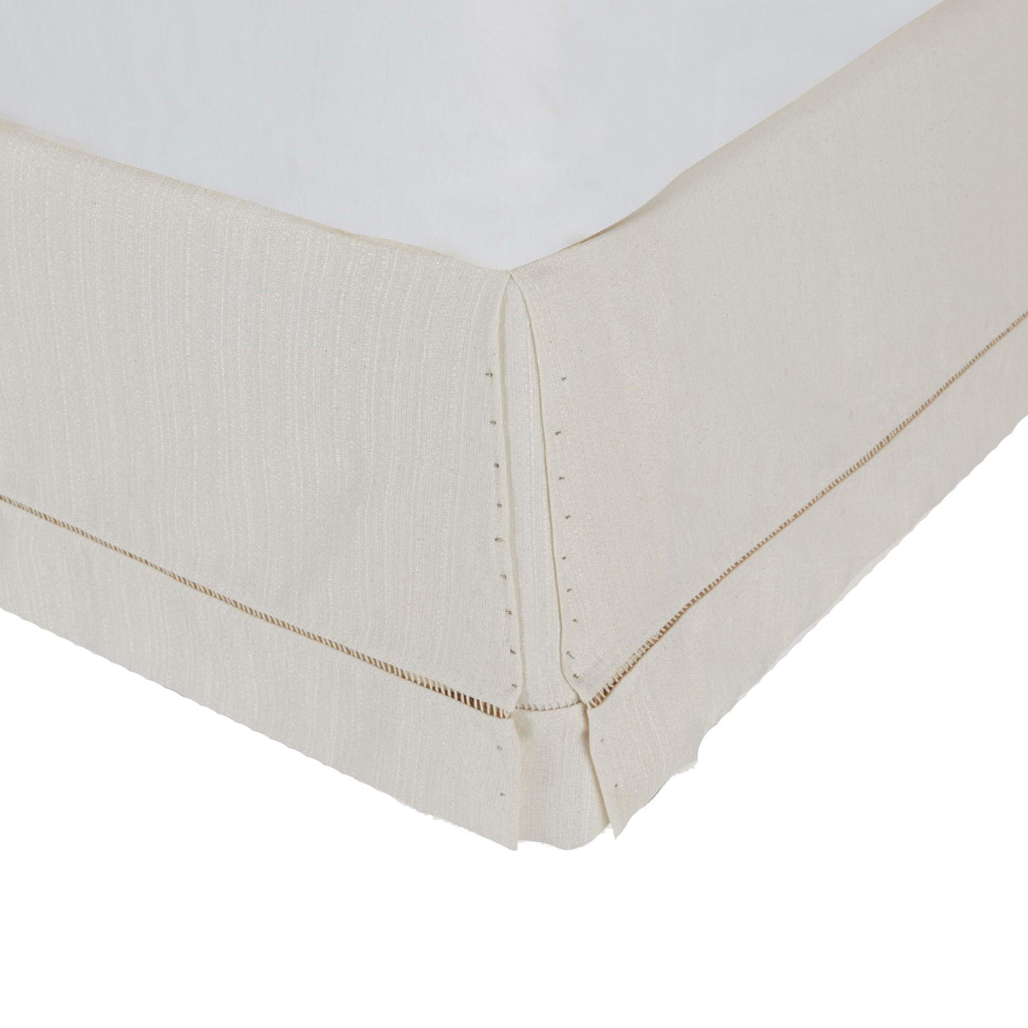 Saia para Cama Box com Ponto Palito Bege [Viúva 108 x 198 cm]