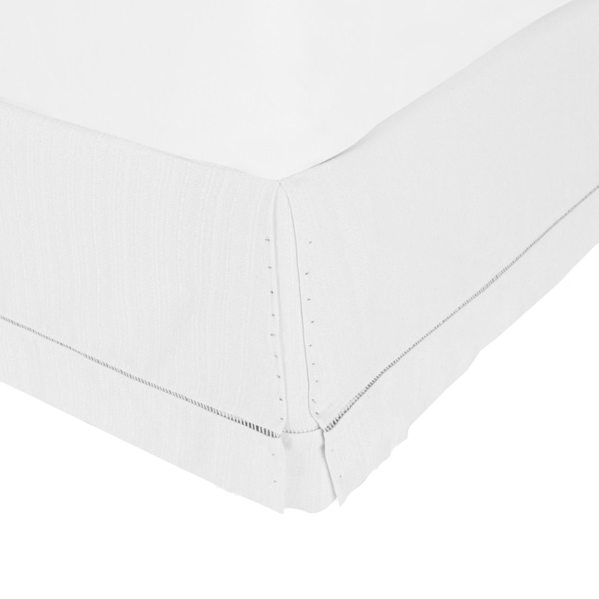 Saia para Cama Box com Ponto Palito Branca [Solteirão 097 x 203 cm]