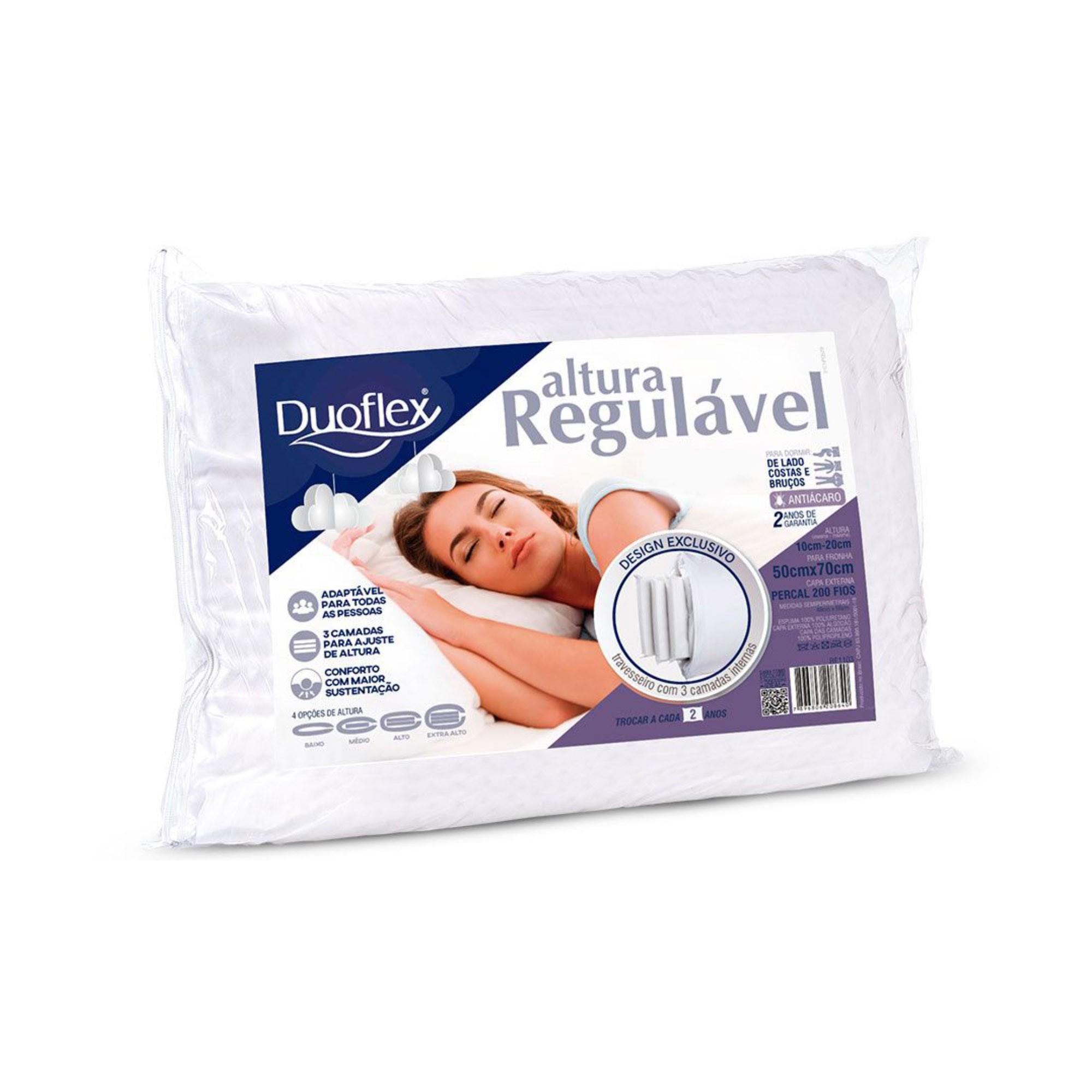 Travesseiro Duoflex Altura Regulável, com 04 opções de altura, 050 x 070 cm