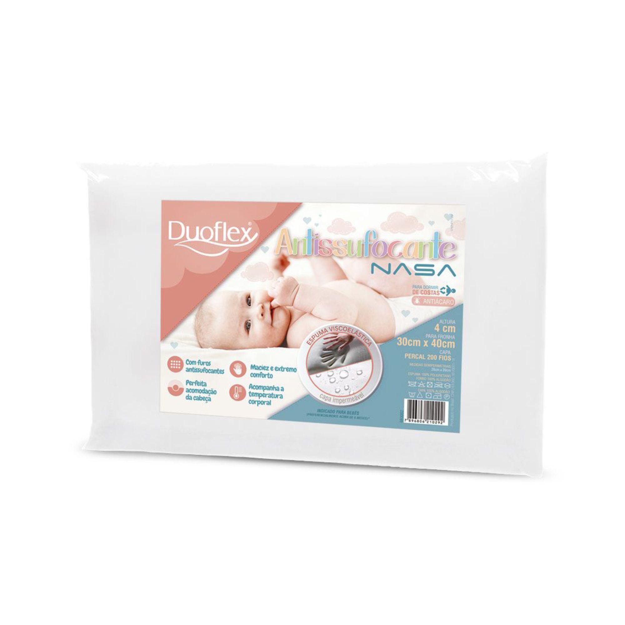 Travesseiro Duoflex Antissufocante Baby Nasa para Bebês de até 1 ano, com Capa Impermeável, 030 x 040 x 004 cm