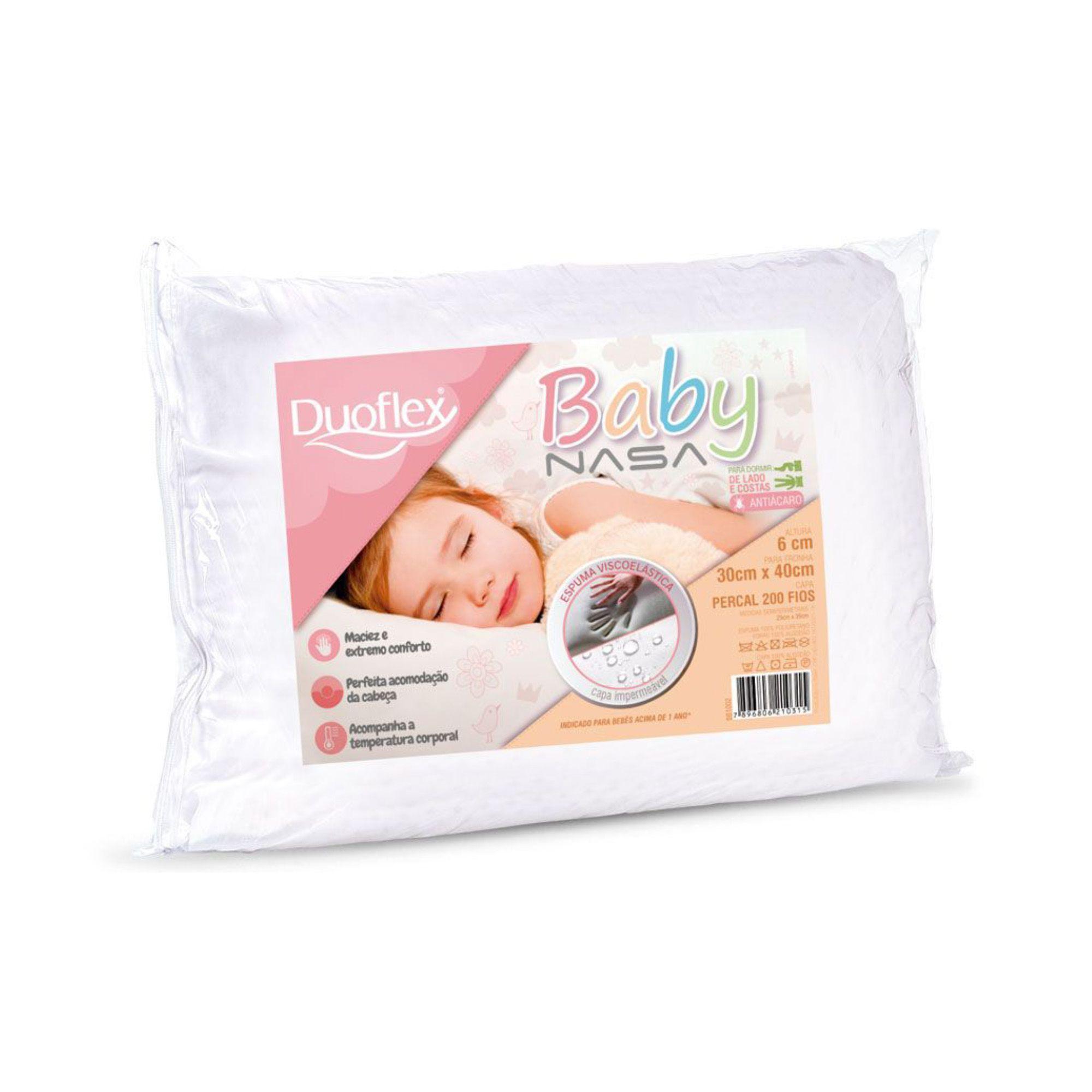 Travesseiro Duoflex Baby Nasa para Bebês acima de 1 ano, com Capa Impermeável, Extra Macio, 030 x 040 x 006 cm