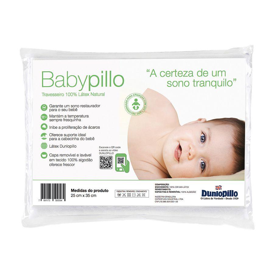 Travesseiro Babypillo 100% Látex, Macio, 025 x 035 cm