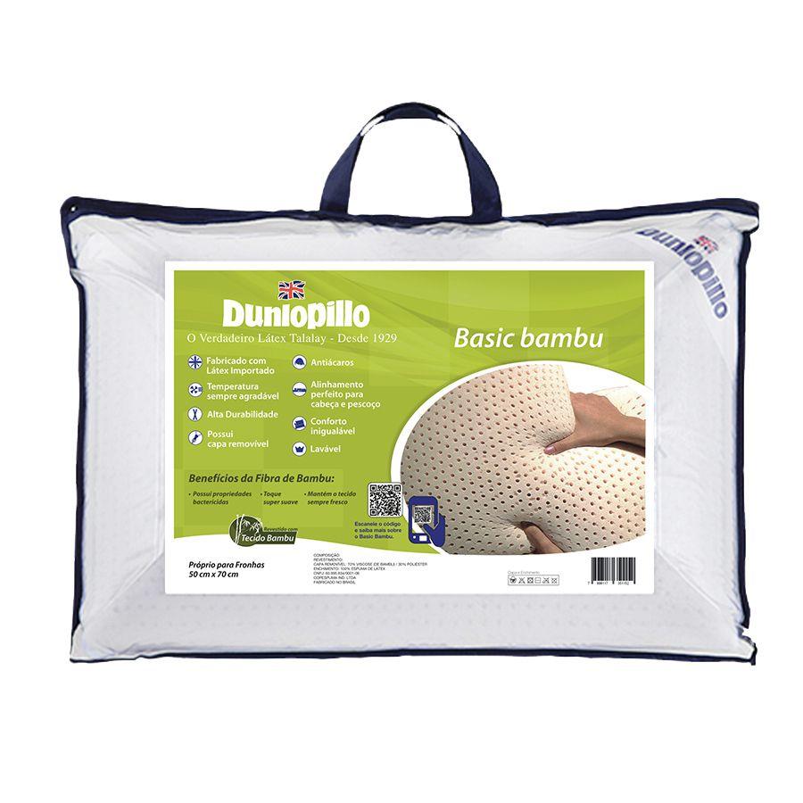 Travesseiro Dunlopillo Basic Bambu, 100% Látex, Firme, 050 x 070 cm
