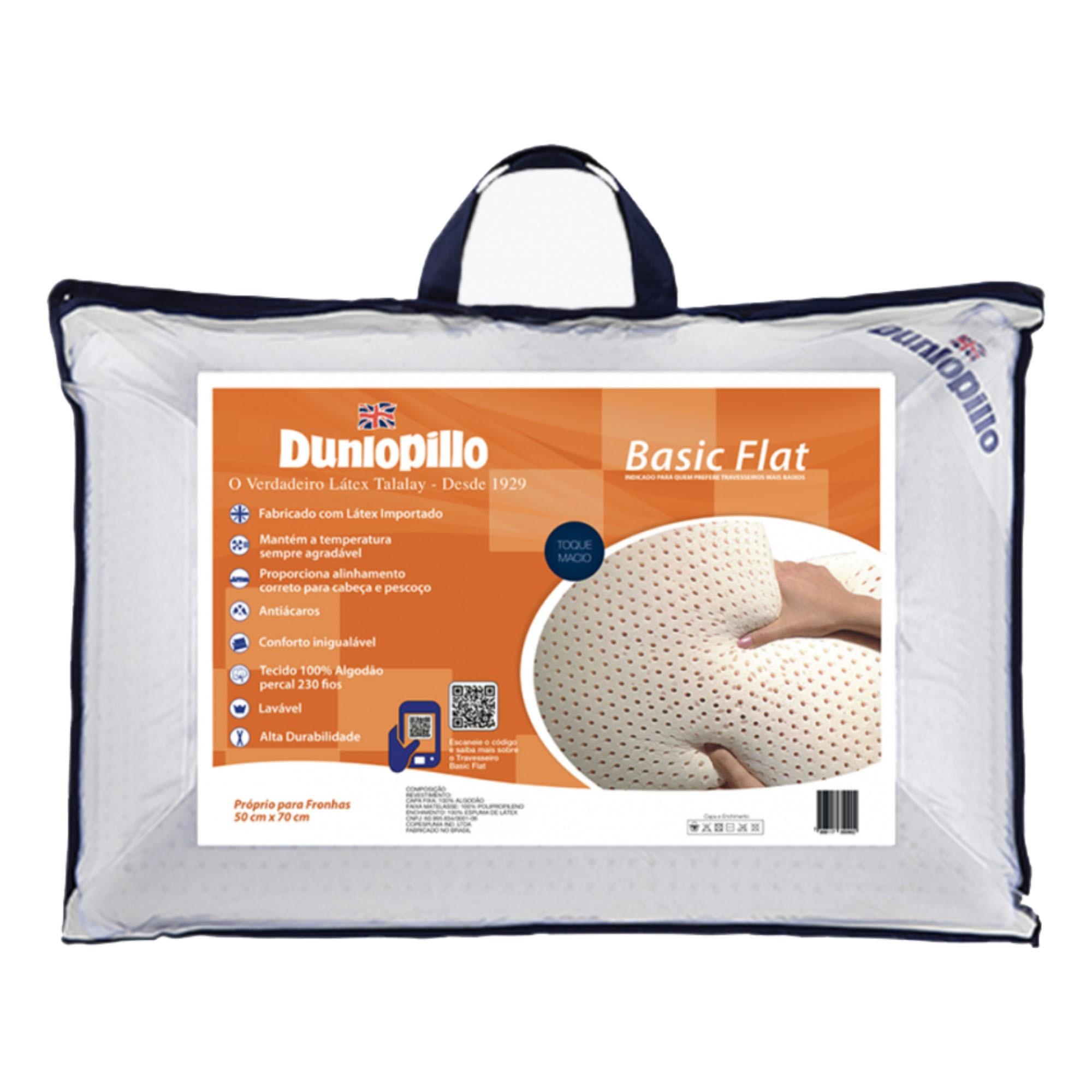 Travesseiro Dunlopillo Basic Flat, 100% Látex, Intermediário, 050 x 070 cm