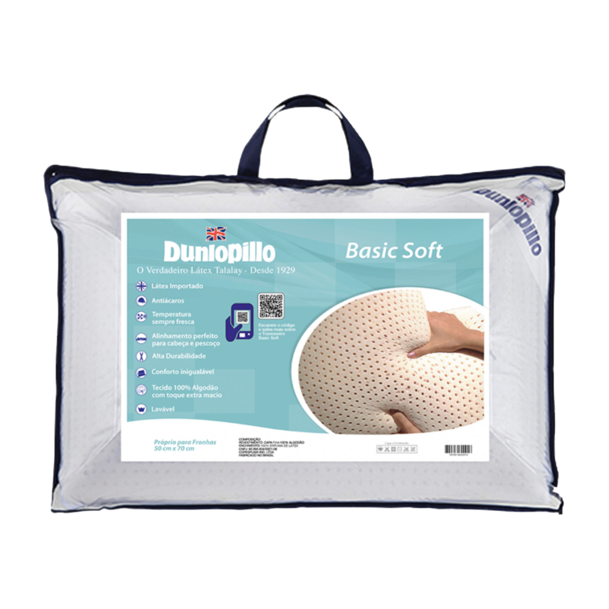 Travesseiro Dunlopillo Basic Soft, 100% Látex, Macio, 050 x 070 cm