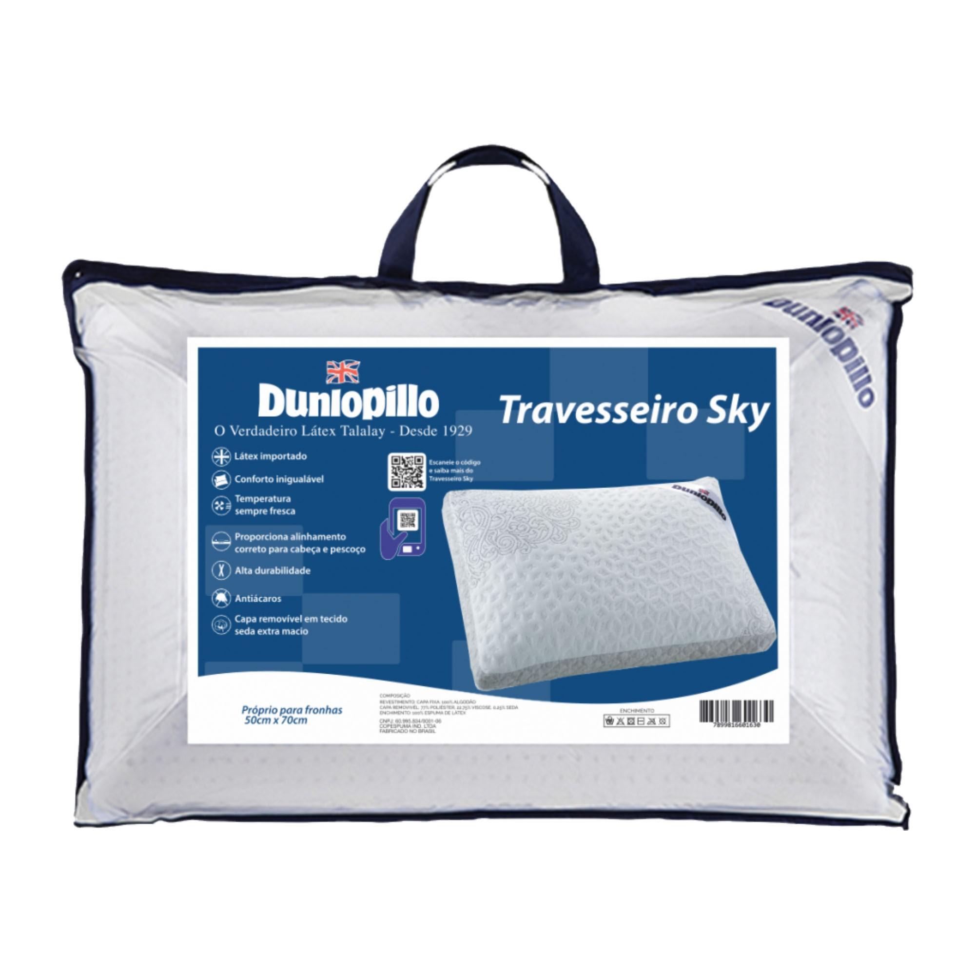 Travesseiro Dunlopillo Sky Flocos de Látex, Intermediário, 050 x 070 cm