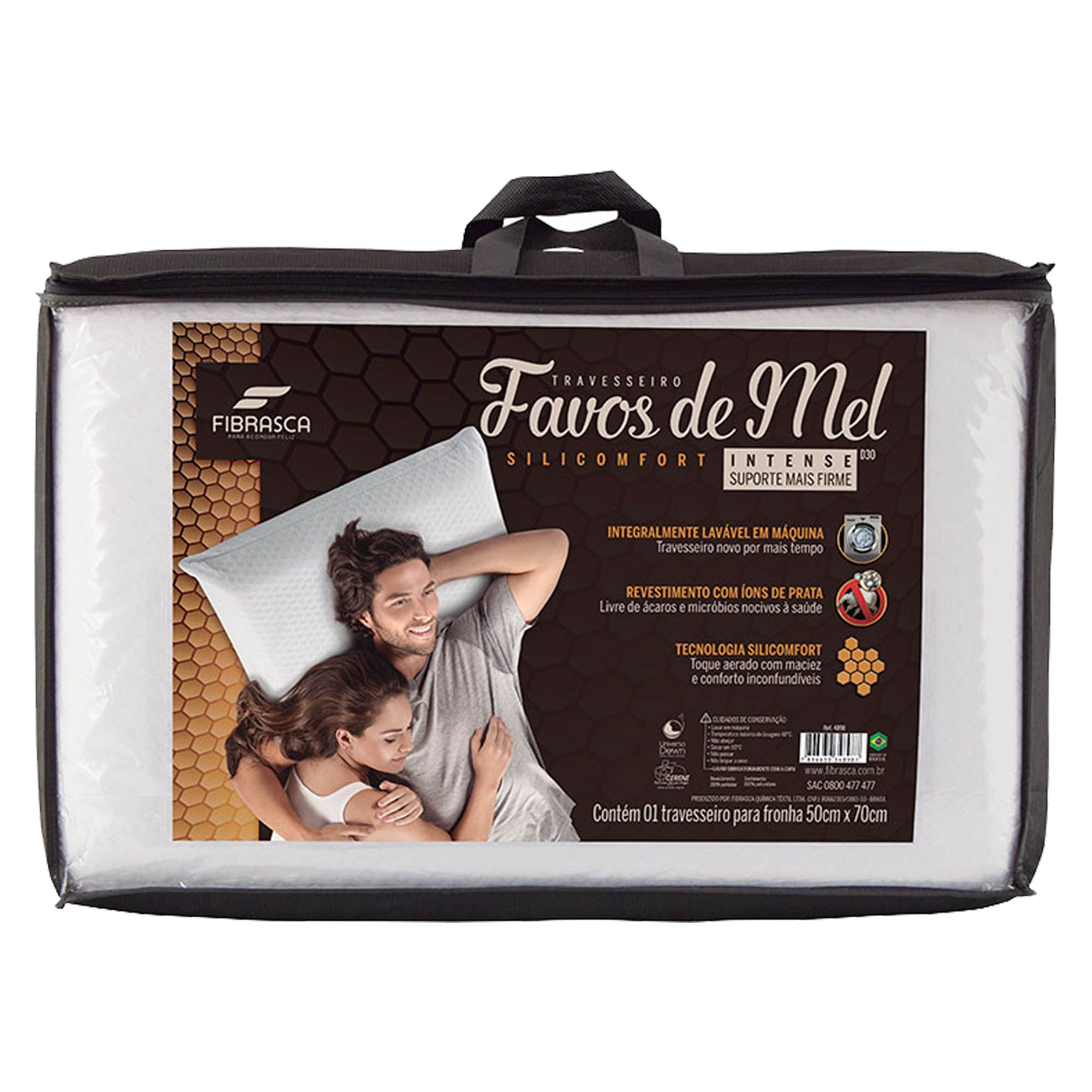 Travesseiro Fibrasca Favos de Mel Intense, Intermediário, 050 x 070 cm