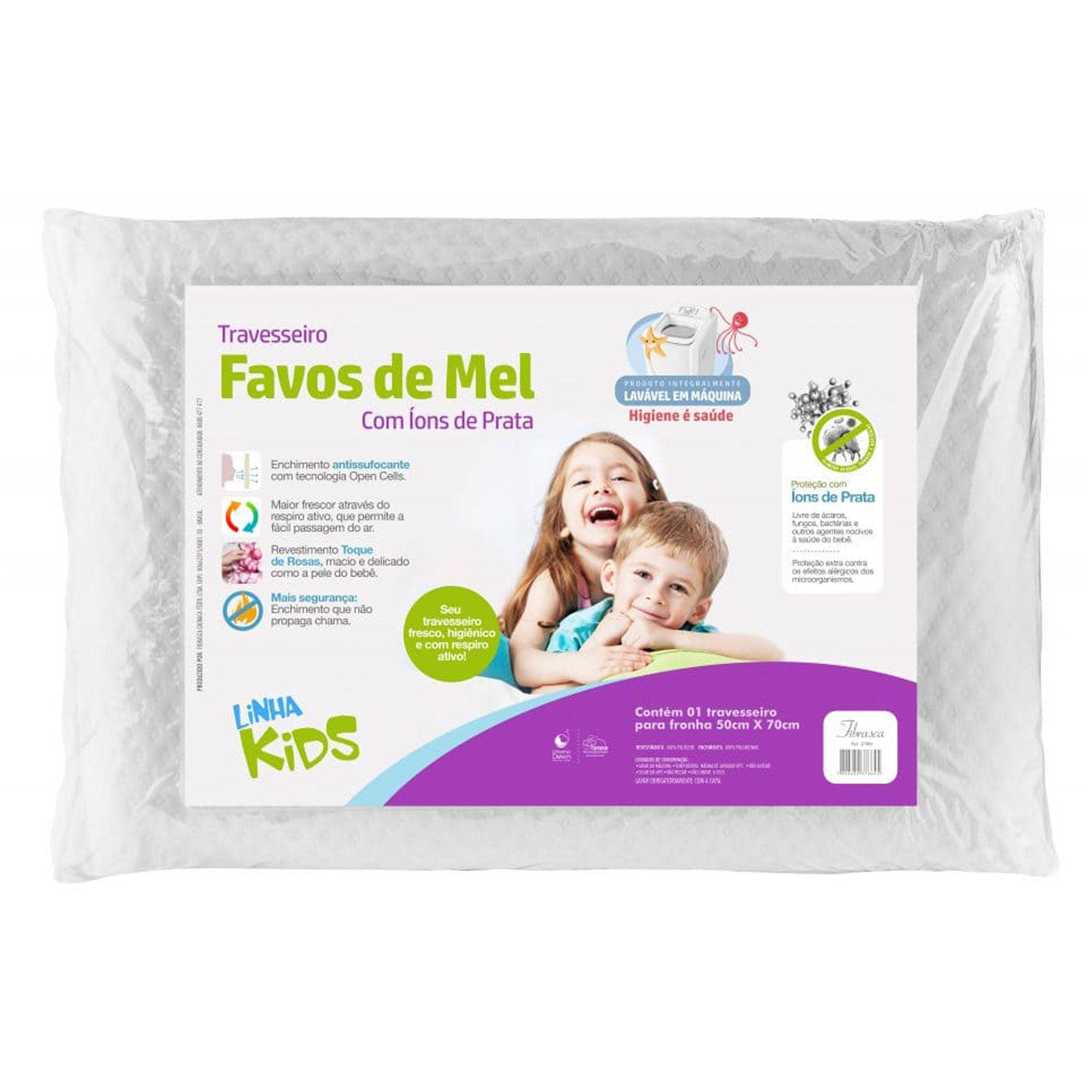 Travesseiro Fibrasca Favos de Mel Kids, Macio, 050 x 070 cm