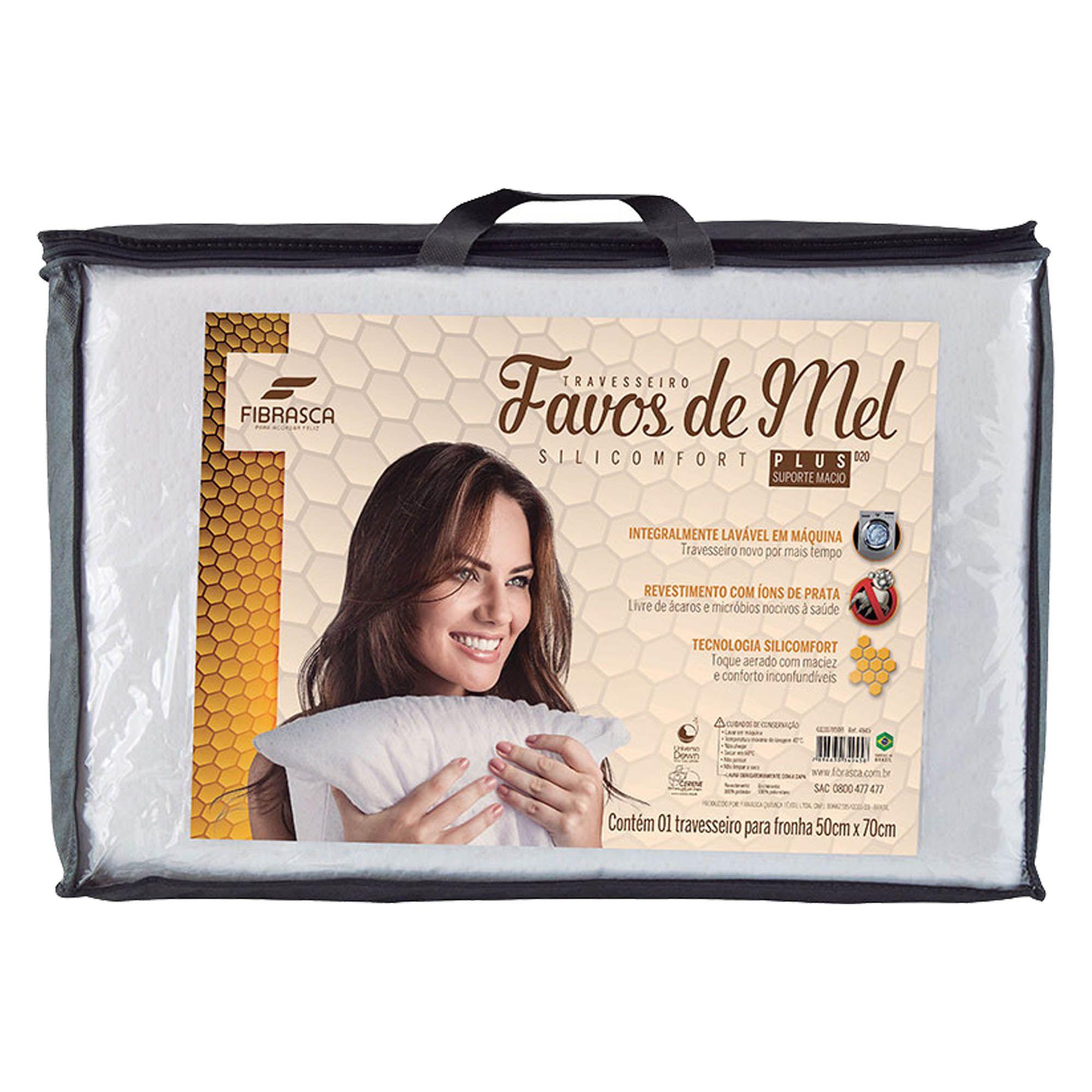 Travesseiro Fibrasca Favos de Mel Plus, Macio, 050 x 070 cm