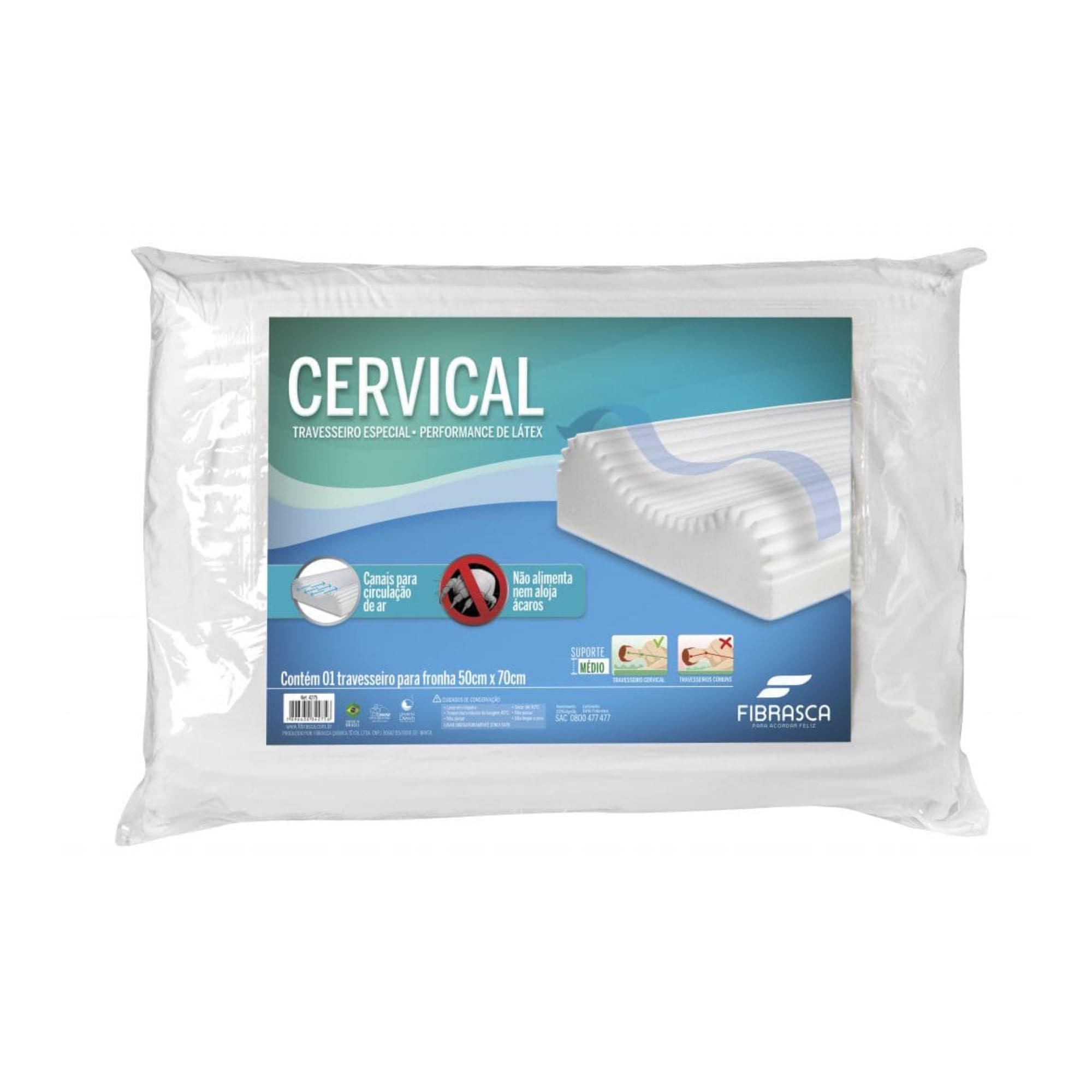 Travesseiro Fibrasca Cervical, Firme, 050 x 070 cm