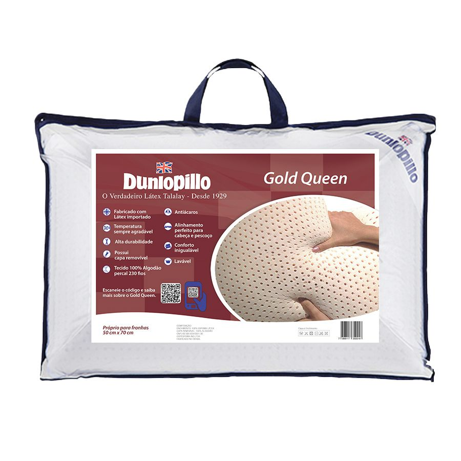 Travesseiro Dunlopillo Gold Queen, 100% Látex, Firme, 050 x 070 cm